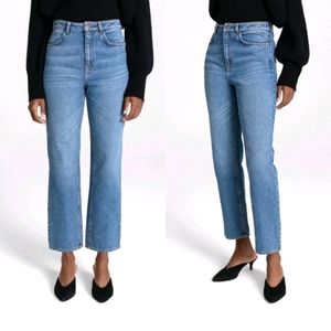 NEW A.L.C Studded High Rise Straight Crop Jeans